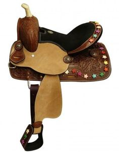 Double T youth/pony saddle with star bead. This saddle features floral tooled skirts accented with multi color star beads on skirt, cantle and stirrups. Saddle is equipped with front D rings, leat Western Horse Tack, Western Riding, Pony Saddle, Saddles, Cowboy Hats, Youth, Horses, Stars, Candy