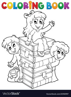 Illustration of Coloring book kids theme 4 - vector illustration vector art, clipart and stock vectors.
