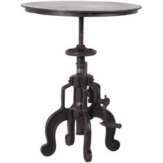 Round Industrial Side Table ($470) ❤ liked on Polyvore featuring home, furniture, tables, accent tables, metal side table, metal end tables, hand made furniture, handcrafted furniture and metal table