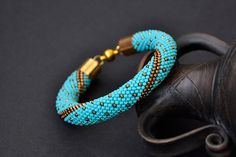 Beaded Crocheted Bracelet Turquoise Seed Bead Bracelet Bead Crochet Rope Gift Must Have Jewelry - pinned by pin4etsy.com