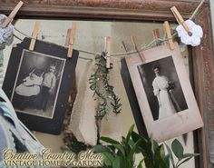 Creative Country Mom's Vintage Home and Garden: Antique Photo Garland - Vintage/Country Style Decorating Ideas