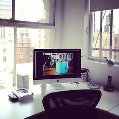 ∞ Manhattan Workspace:    Our studio is the place we spend most of our time, and we wanted it to be quiet and inspiring at the same time. It has a very minimalist aesthetic with the most fantastic, energizing view of downtown Manhattan.    A workspace atModProducts.