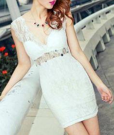 Hollow Lace Open Back Dress