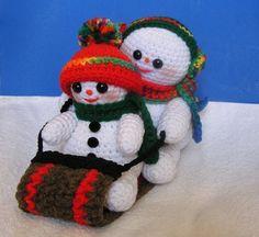 PDF Crochet Pattern  TOBOGGANING SNOWMEN
