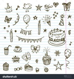 Birthday Elements. Hand Drawn Set With Birthday Cake, Balloons, Gift And Festive Attributes. Children Drawing Doodle Collection. Stock Vector Illustration 253574761 : Shutterstock