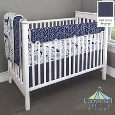 Crib bedding in Windsor Navy Herringbone, Solid Navy, Navy and Mint Woodland Animals. Created using the Nursery Designer® by Carousel Designs where you mix and match from hundreds of fabrics to create your own unique baby bedding. #carouseldesigns