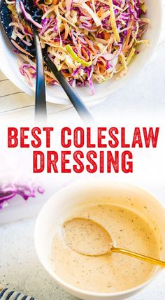 recipes healthy easy Best Coleslaw Dressing This homemade coleslaw dressing recipe is truly the best: it's creamy using less mayo than most coleslaw recipes. Plus, it takes only 5 minutes to make! Sugar Free Salad Dressing, Homemade Coleslaw Dressing, Salad Dressing Recipes, Salad Dressings, Vegan Slaw Dressing Recipe, Salad Recipes, Healthy Coleslaw Recipes, Best Coleslaw Recipe, Vegan Recipes