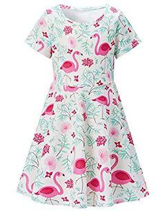 eabcf25e207 RAISEVERN Toddler Girl Dress Summer Printed Sundress Casual Short Sleeve  Dress Summer Prints