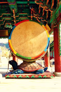Geumsansa Buddhist Temple, South Korea | Love these giant drums! Note the beautiful ceiling.