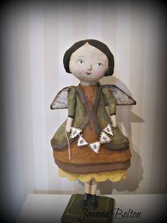 Peace Angel papier mache folk art doll OOAK by Joannabolton