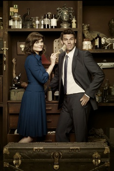 """a humorous promotional pic for season 7, with little season teasers in the background. Emily Deschanel plays """"Bones"""", Dr. Temperance Brennan, co-star David Boreanaz plays her partner FBI Special Agent Seely Booth."""