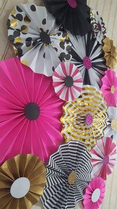 Kate Spade geïnspireerd zwarte en roze rozetten door eventprint
