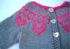 baby girl fairisle cardigan cardi knitting pattern colour-work