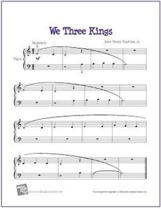 We Three Kings | Free Sheet Music for Easy Piano - http://makingmusicfun.net/htm/f_printit_free_printable_sheet_music/we-three-kings-piano-solo.htm