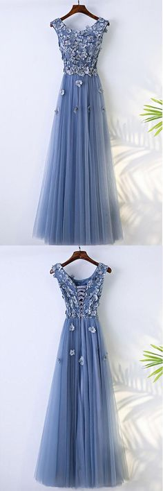 A-line Blue Flowy Prom Dress Long With Flower Petals PG631 #promdress #eveningdress #longprom #aline #blue #pgmdress #partydress