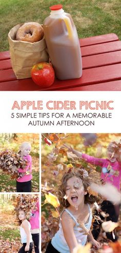 Autumn Apple Cider Picnic *So sweet. Doing this children's activity with the kids when our family rakes this fall!