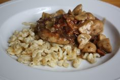 Pork & Spaetzle - Need I say more?  We just do pork medallions cut from solomillo and skip the bacon.  Spaetzle comes from the freezer where we stock pile packages from Munich.