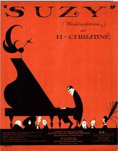 Illustrated Sheet Music Cover by Einar Nerman (1888-1983), 1917, Suzy. (Swedish illustrator)