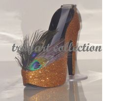 PEACOCK Bronze / Copper High Heel Shoe TAPE DISPENSER Stiletto Platform - office supplies - trayart collection. $29.50, via Etsy.