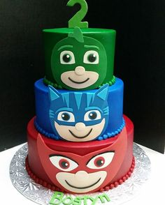 PJ masks inspired birthday cake #customcake #buttercreamcake #birthdaycake #shreveportcakes