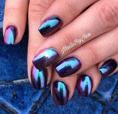 L & P nails w/ Peacock chrome. NailsByJen Columbus NE