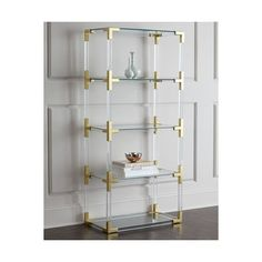 Jonathan Adler Jacques Lucite & Brass Etagere ($1,920) ❤ liked on Polyvore featuring home, furniture, storage & shelves, display units, clear, jonathan adler furniture, brass furniture, plexiglass furniture, modern curio cabinet and modern home furniture
