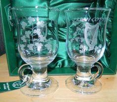 St. Patrick's Day TWIN SHAMROCK IRISH COFFEE MUGS EAMON Glass IRELAND ENGRAVED #EamonGlass