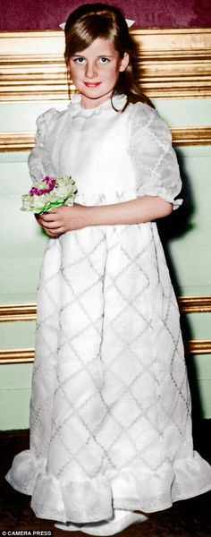 Diana, aged eight, realising an early dream to be a bridesmaid at the wedding of her cousin Elizabeth Wake-Walker in 1970 at St James's, Piccadilly. Brother Charles was a pageboy
