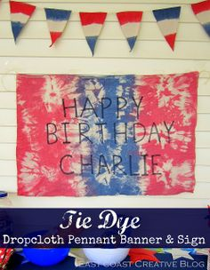 Tie Dye Pennant Banner & Sign #MemorialDay #IndependenceDay #Banner #TieDye #Holiday #party #DIY #ontheblog