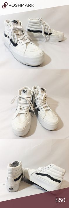 VANS white high top platform sneakers Great condition. Super cute Vans Shoes Sneakers