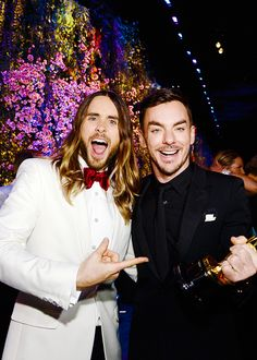 Jared Leto and brother pose at the Oscars Governors Ball at Hollywood & Highland Center in Hollywood, California - March 2, 2014