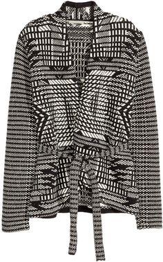 H&M Jacquard-knit Cardigan - Black/Patterned