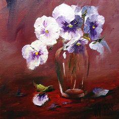 Pansies & Shoulder Vase 6x6 oil on canvas