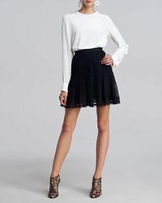 Oscar de la Renta - Silk Cuff Links Blouse & Pleated Lace-Trim Skirt