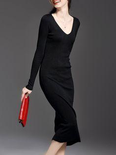 #AdoreWe #StyleWe Dresses - YIMEI V Neck Simple Long Sleeve Plain Midi Dress - AdoreWe.net