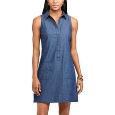 Women's Chaps Jean Shirtdress ($60) ❤ liked on Polyvore featuring dresses, blue, blue shirt dress, beachy dresses, blue sleeveless dress, t-shirt dresses and blue dress