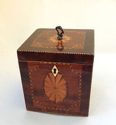 George Iii Mahogany Inlaid Tea Caddy C1810