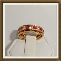 9ct Gold Vibrant Pink & White Stone Eternity Ring  £250.00