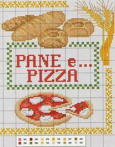 Pane e pizza Cross Stitch Kitchen, Cross Stitch Books, Cross Stitch Designs, Cross Stitch Patterns, Cross Stitching, Cross Stitch Embroidery, Stitch Witchery, Budget Book, Crochet Food