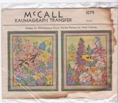 Vintage 1940s McCall Kaumagraph Transfer 1079 2 by beththebooklady