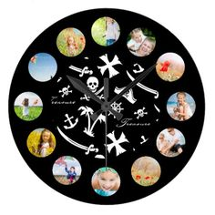 Pirate Treasure Black White Icons Photo Collage Large Clock find more personalized clocks at www.mouseandmarker.com