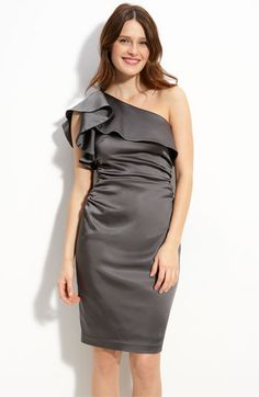 Maggy London Ruffled One Shoulder Stretch Satin Dress $158.  super clean and chic.  (nordstroms site)