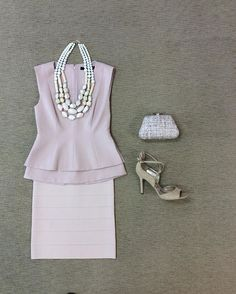 WEBSTA @ effiesinc - #Lookoftheday!!! V-neck peplum top in nude, banded knit fitted skirt, triple strand of muted wooden beads, neutral tweed clutch, and suede strappy sandals in sand. #amtopm #citychic #tonalandtextured #shopttownallthetime #ootd
