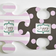 Two Large Custom Shabby Chic Puzzle Piece Shape Photo Frames, Hand-Crafted from Wood & Hand Painted
