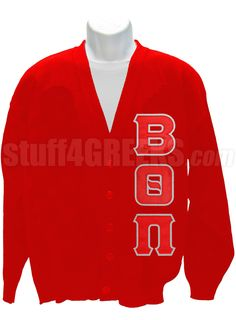 BETA THETA PI CARDIGAN WITH CREST, RED  Item Id: PRE-CSR-BQP-BASIC-LTR-RED    Price: $99.00