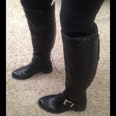 """NEW Tall Black Boots NEW Tall Black Boots. Side zipper on inner bottom for easier pull on, gold toned buckle, these are gorgeous!  I want to keep these, but I have too many boots as it is. New, no box. Shaft height from bottom of heel to top of boot is approx. 17 1/4"""", heel is approx. 1 1/2"""". Shoes"""
