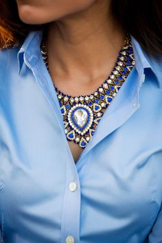 How to wear a statement necklace to the office