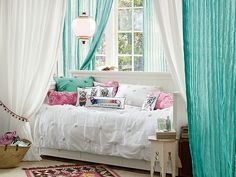 I love the PBteen Twisted Crinkle Beadboard Bedroom on pbteen.com - daybed in front of window with curtains on the sides! Awesome! @Jenn Storms Lynn