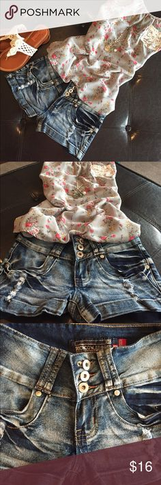 🛍BUTT LIFTING DISTRESSED SHORTS🛍 🛍BRAND NEW! Butt lifting dark denim distressed short shorts. If measurements are needed please comment. 🛍 RICHCOW Shorts Jean Shorts