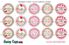"""Cute Christmas 1"""" Bottle Cap Images by Jazzy Caps"""